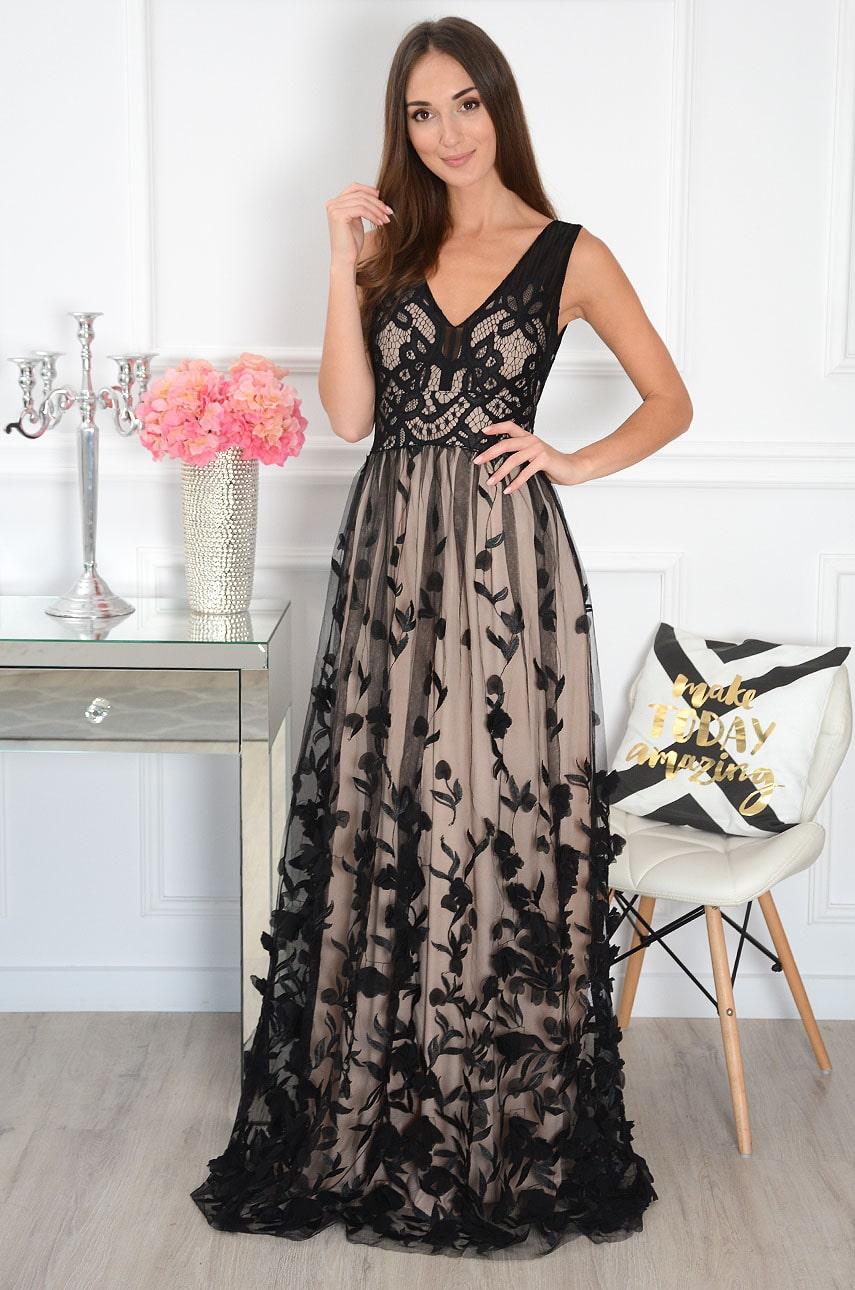 Sukienka maxi haftowany tiul kwiatuszki 3D czarno - beżowa Diana Rozmiar: S