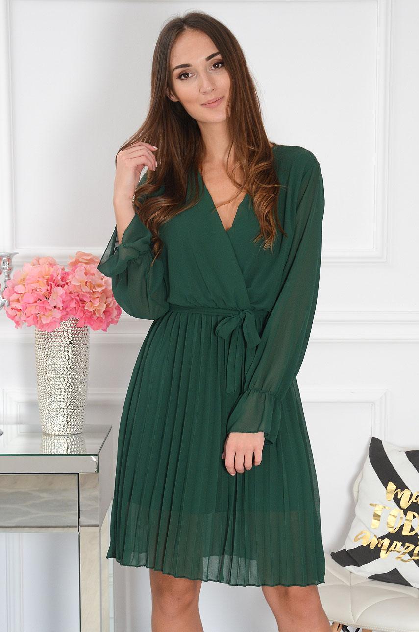 Sukienka plisowana koperto0wy dekolt ciemna zieleń Salina Rozmiar: UNI