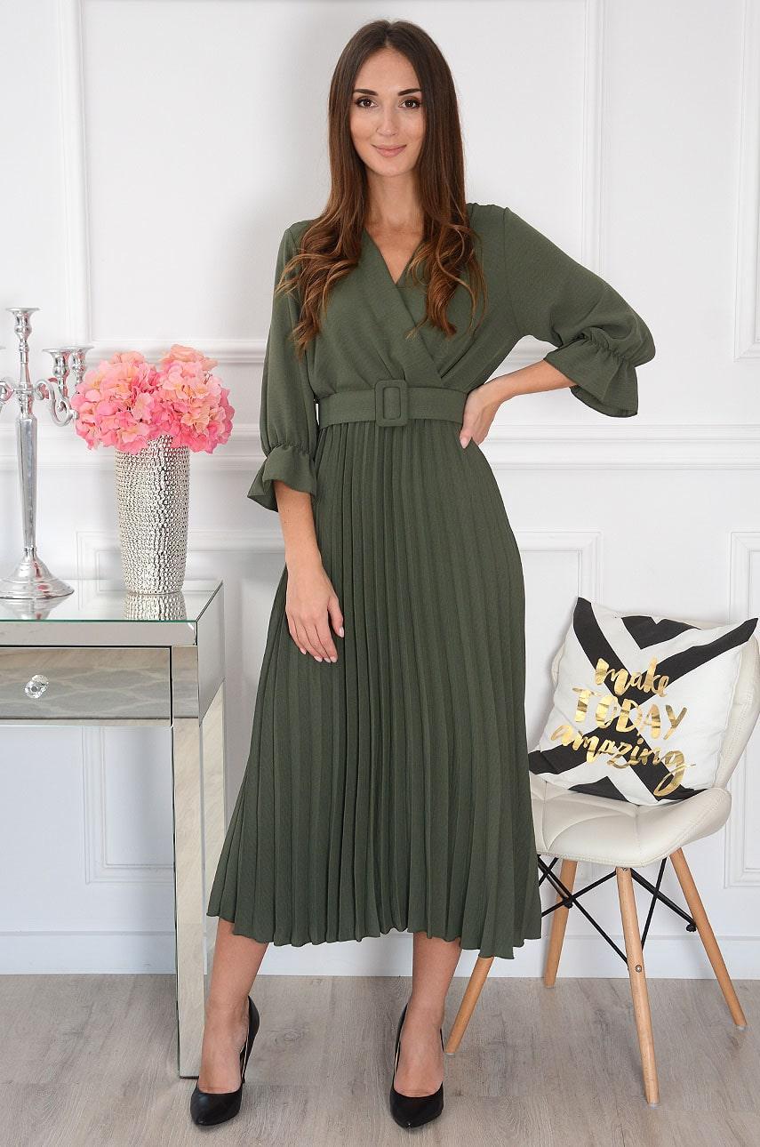Sukienka maxi plisowana z paskiem khaki Nevada Rozmiar: UNI
