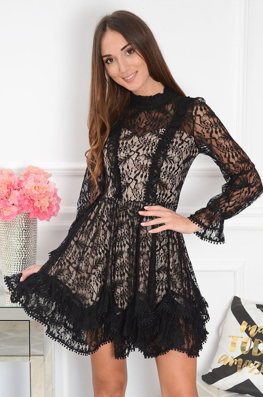 Sukienka koronkowa z falban czarno-beżowa Myranda Rozmiar: L