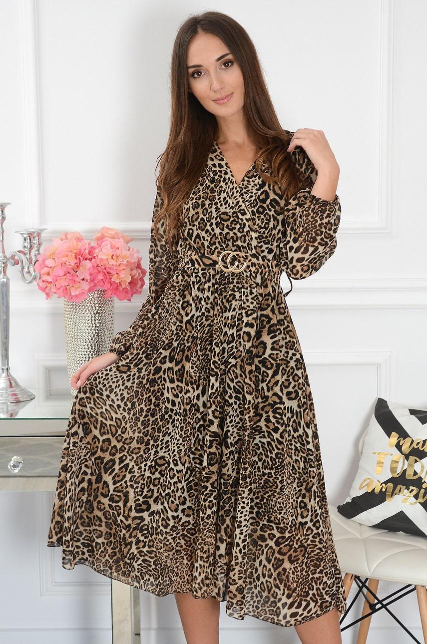 Sukienka midi ze złotą klamrą w panterkę kamel Kindia Rozmiar: UNI