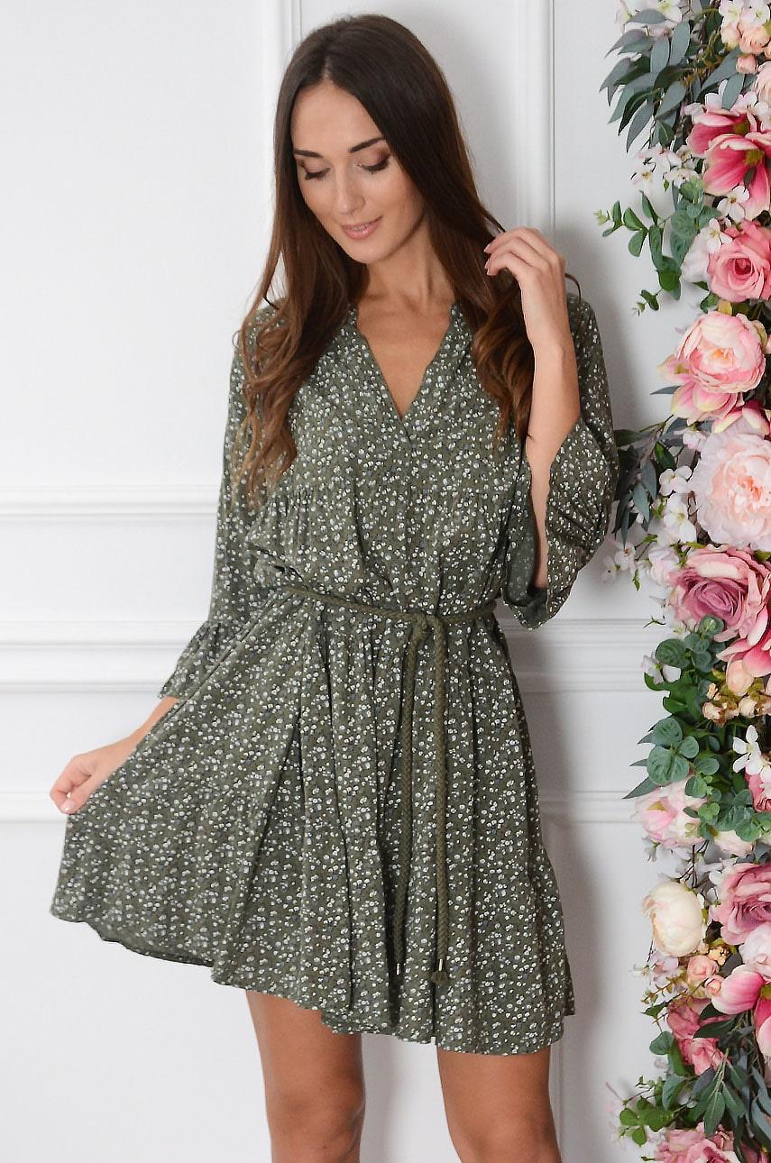 Sukienka oversize z falban w łączkę khaki Lovi Rozmiar: UNI