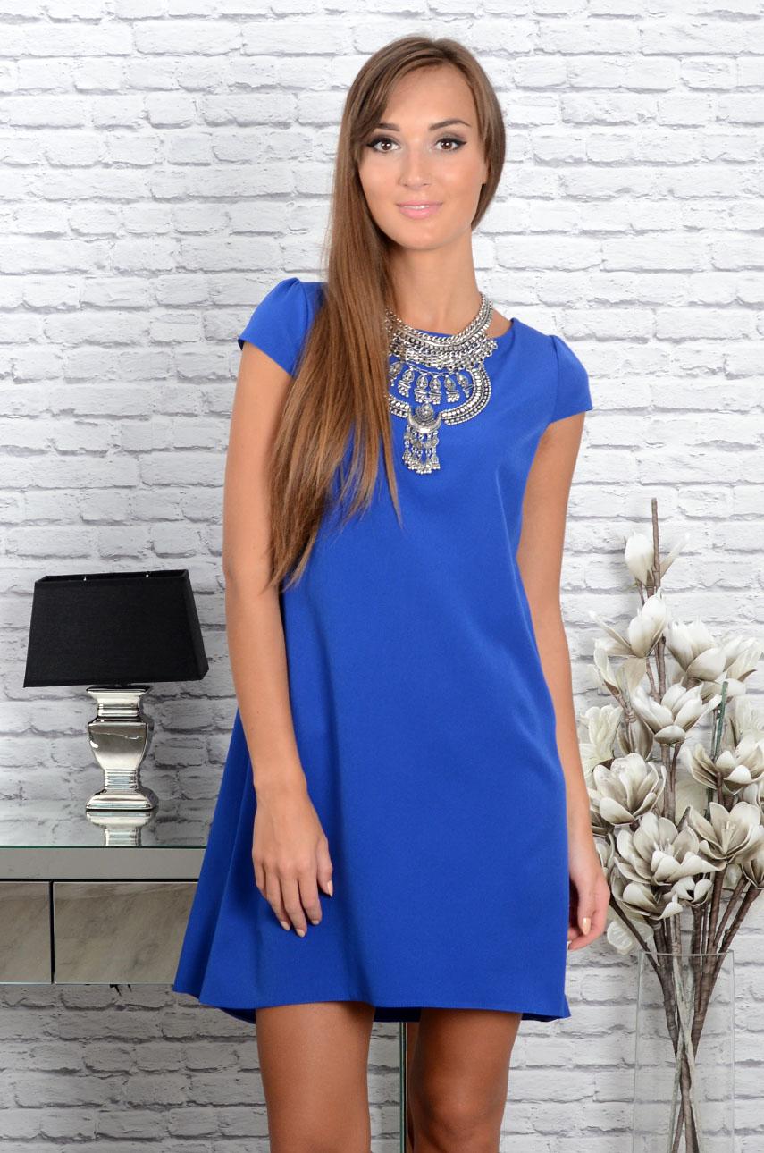 Sukienka z łezką dłuższy tył chaber Rozmiar: M