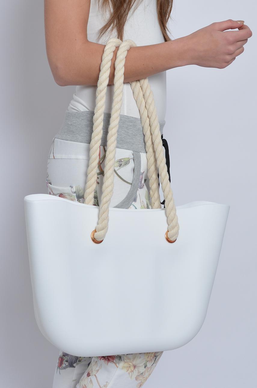 Torba gumowa ze sznurkową rączką biała