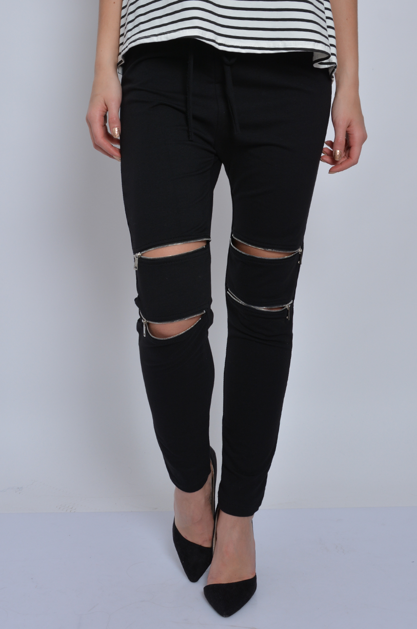 88138235a8d0 Spodnie dresowe z zamkami na kolanach czarne - Cocomoda.pl - ...